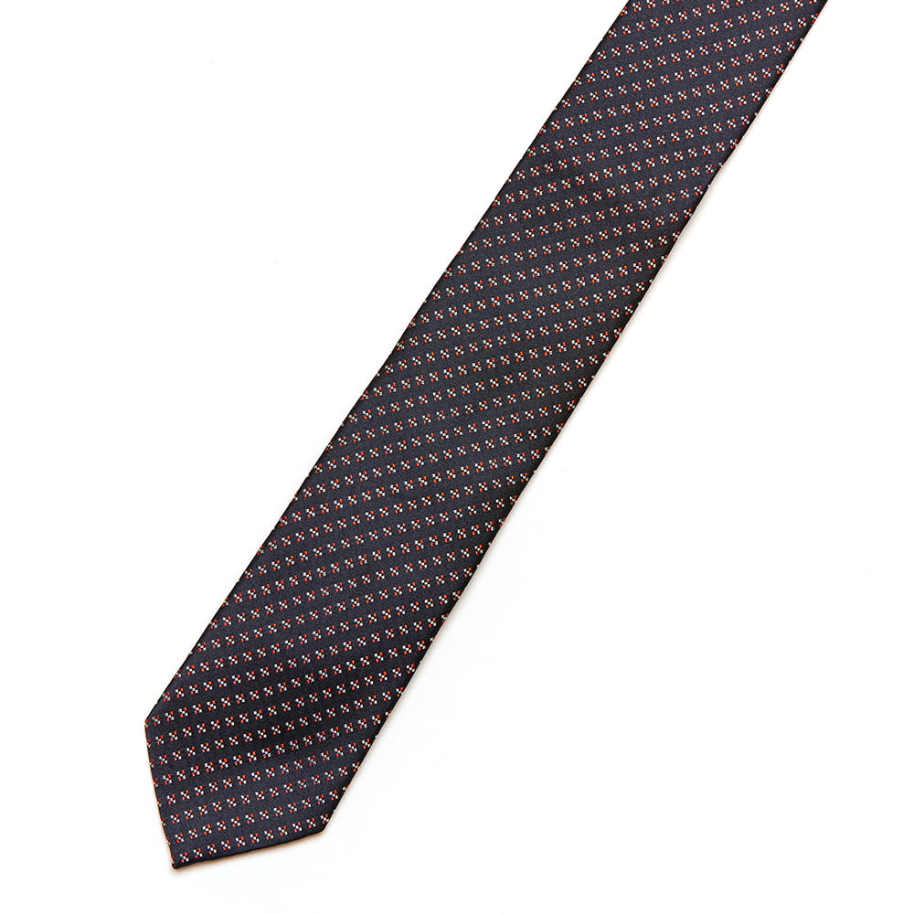 [GABRIELE PASINI] RED SPOT SILK TIE (BLACK)