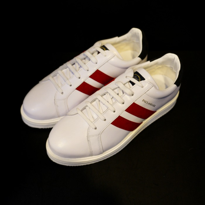 [PAUL&SHARK] LEATHER SNEAKERS (WHITE&RED)