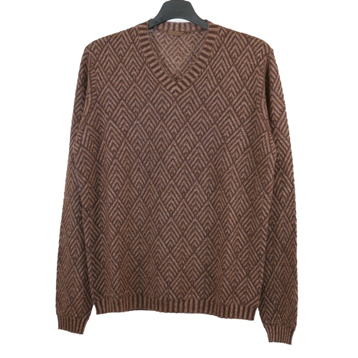 [STILE LATINO] CASHMERE/SILK V-NECK KNIT (BROWN)