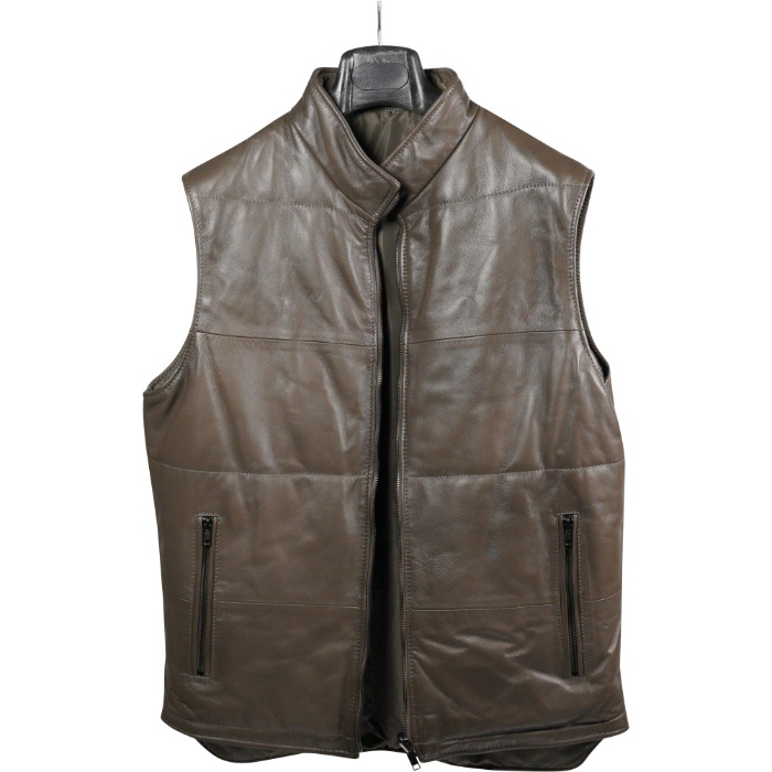 [DESIREE] REVERSIBLE LEATHER VEST (KHAKI/KHAKI)