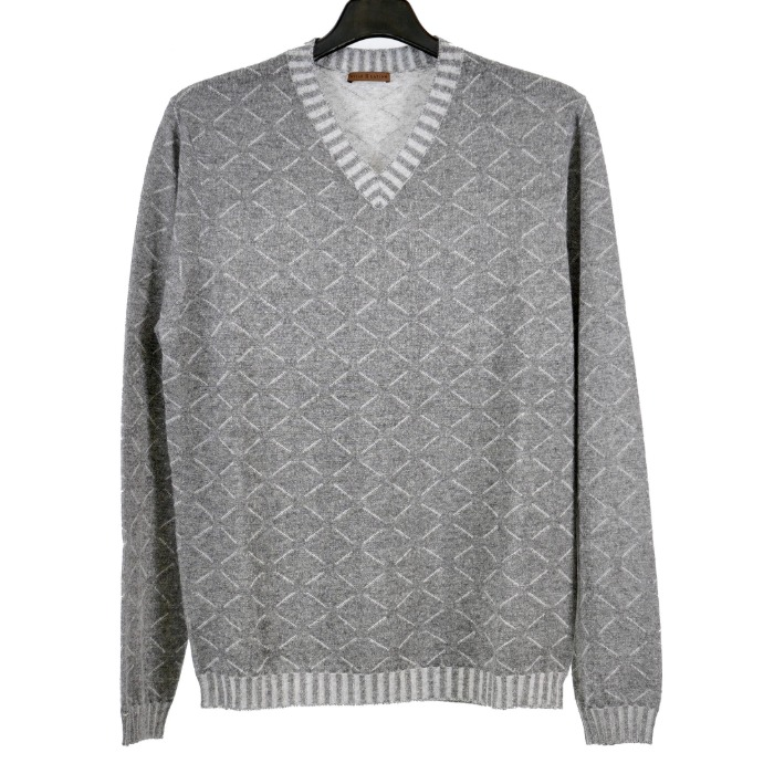 [STILE LATINO] CASHMERE/SILK V-NECK KNIT (GREY)