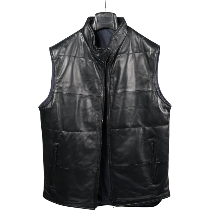 [DESIREE] REVERSIBLE LEATHER VEST (BLACK/NAVY)