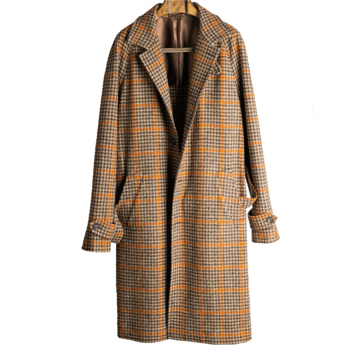 [STILE LATINO] REGLAN CHECK COAT (BROWN)