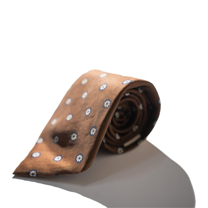 [ALAN'S] SILK TIE (BROWN)