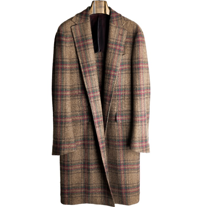 [STILE LATINO] CASHMERE CHECK COAT (BROWN)