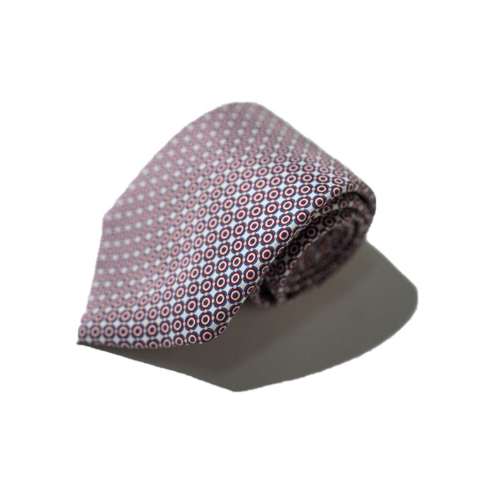 [ALANS'S] SILK TIE (RED AND WHITE)