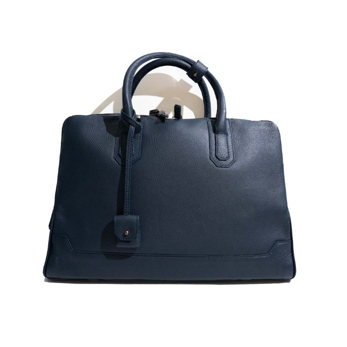 [AIZEA] LEATHER BRIEFCASE (NAVY)