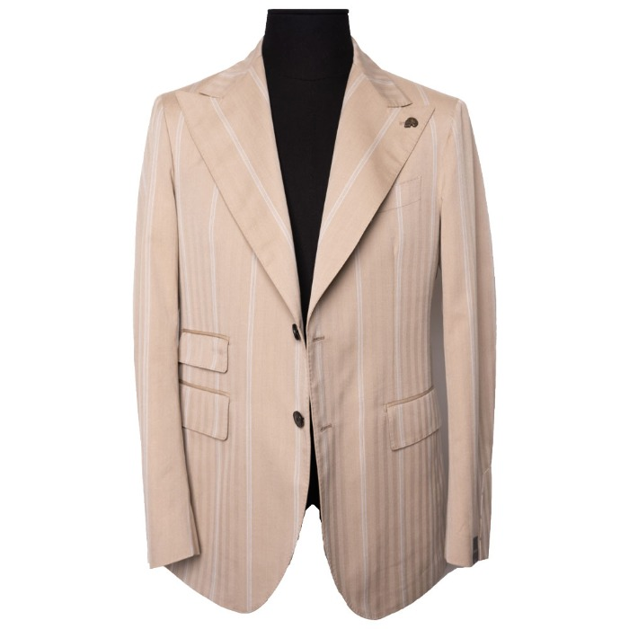 [GABRIELE PASINI] STRIPE SINGLE JACKET (BEIGE)